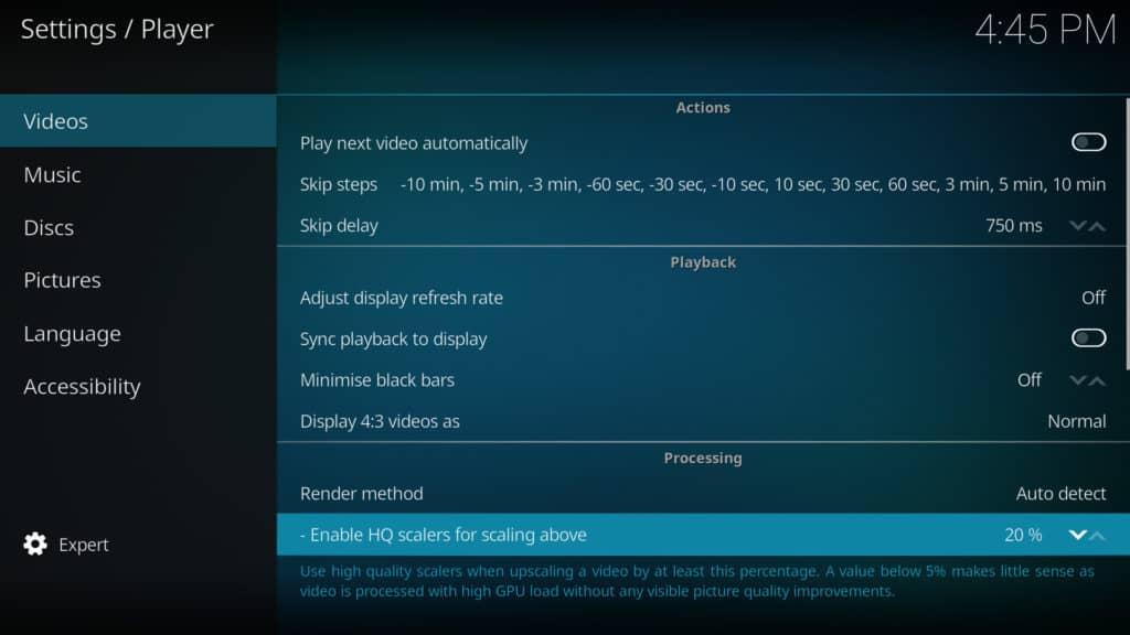 reglage video kodi