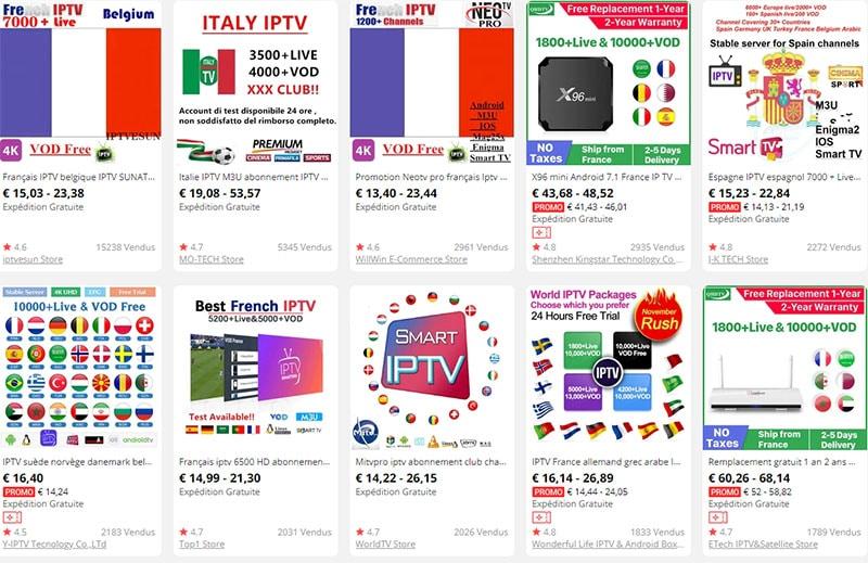 recherche abonnement iptv sur Aliexpress