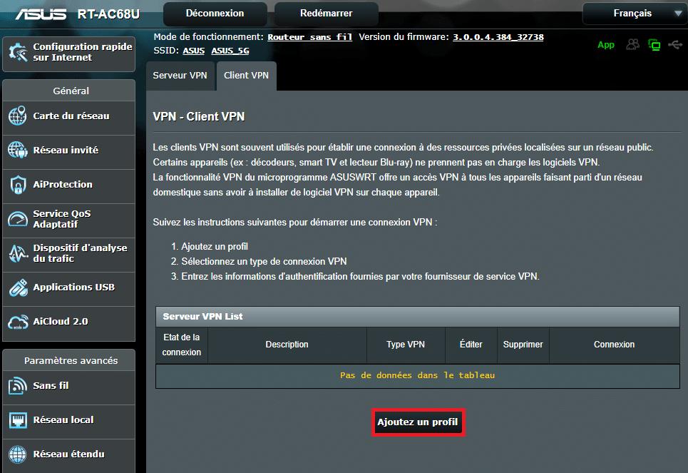ajouter profil routeur asus