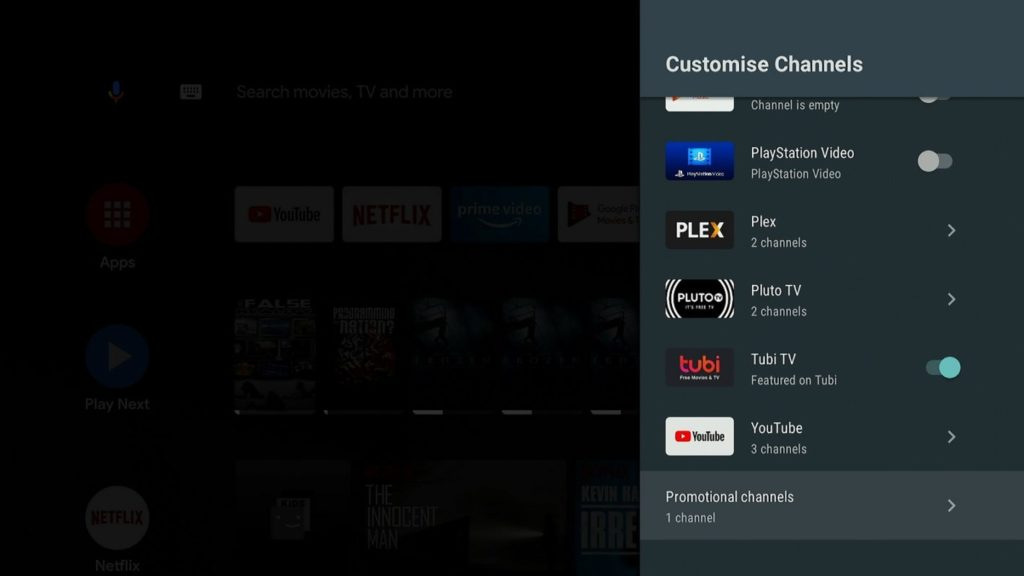 parametre chaine android tv