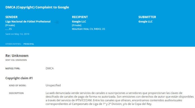 plainte DMCA IPTV foot