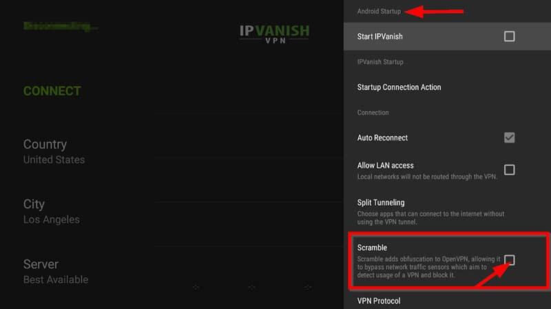 Option Scramble IPVanish