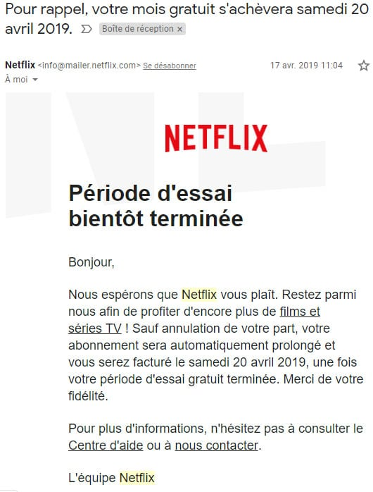 mail Netflix trial period