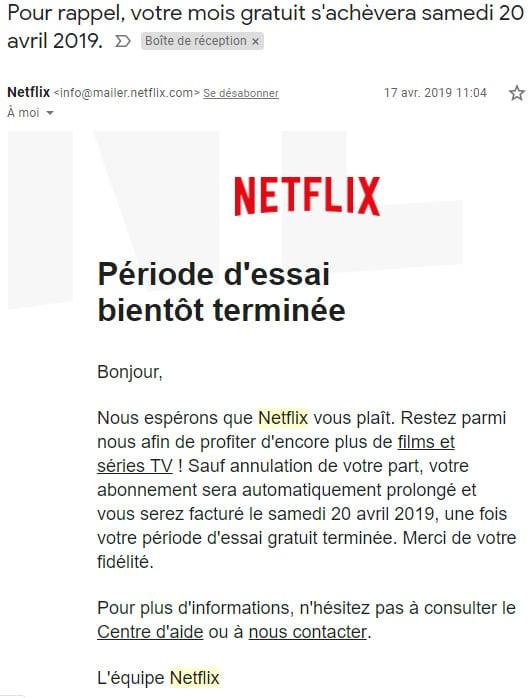 mail periode essai Netflix