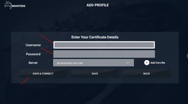 iptv VPN account entry
