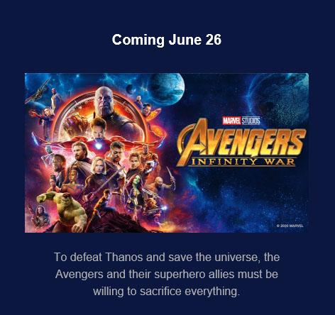 date de sortie infinity wars sur Disney plus
